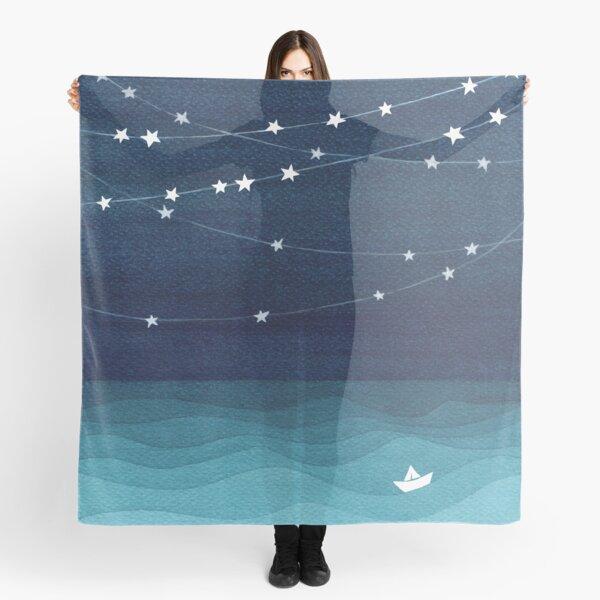 Garland of stars, teal ocean Scarf