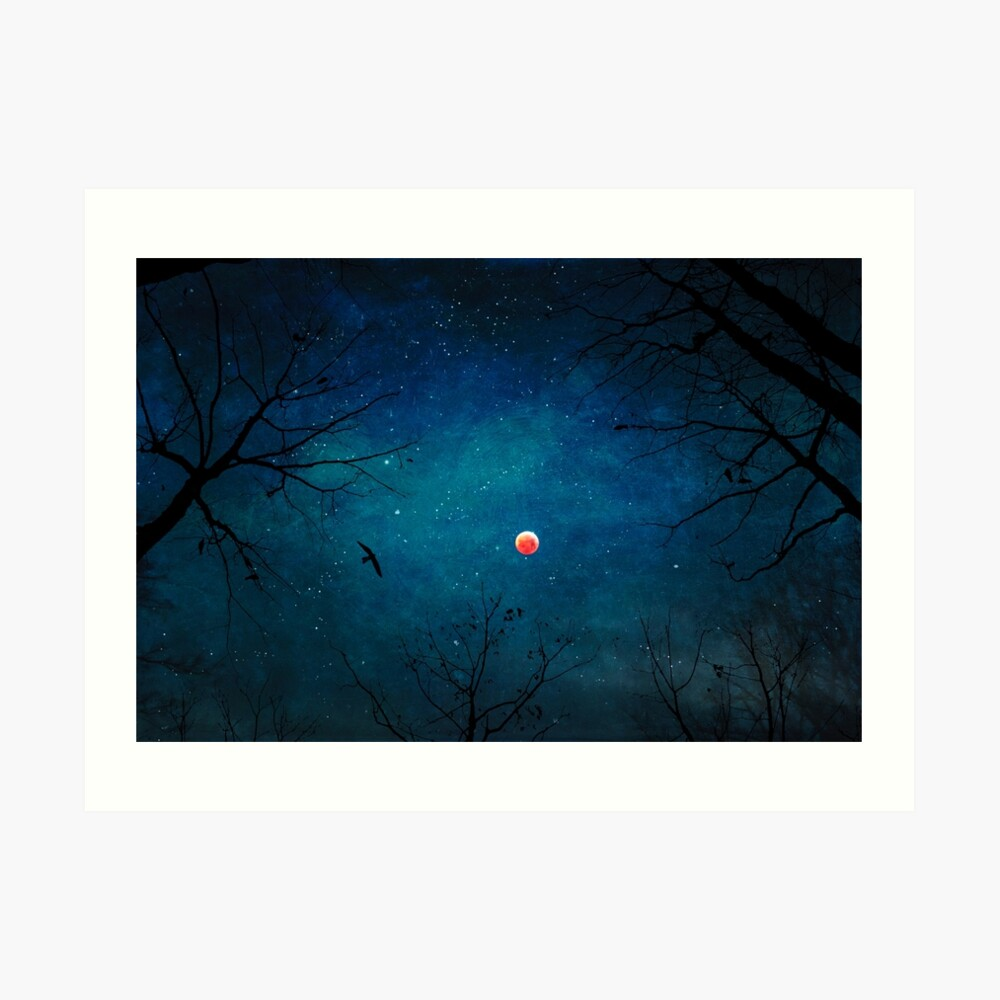 Blood Moon Through Trees Art Print