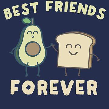 Regalo de la camiseta del pijama de los mejores amigos para siempre del aguacate y de la tostada de marsbees