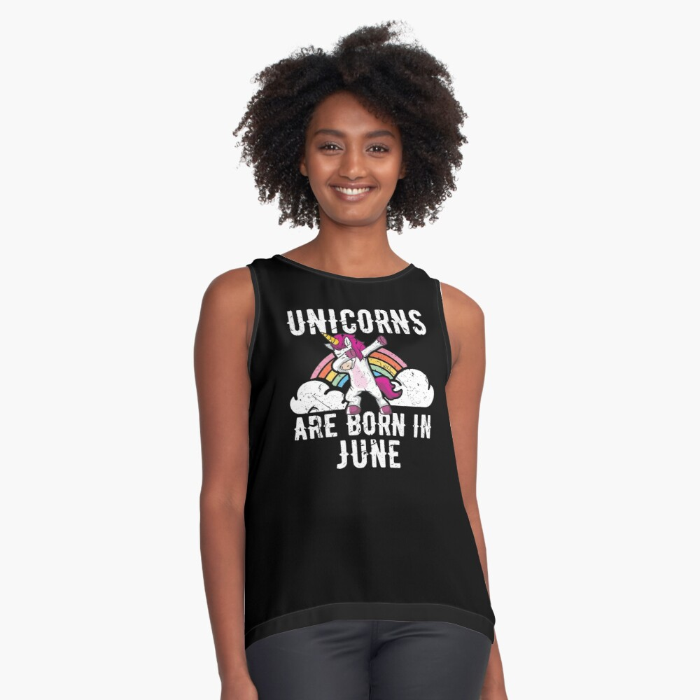 Unicorns Are Born In June Shirt Birthday Month Gift Tee Ärmelloses Top