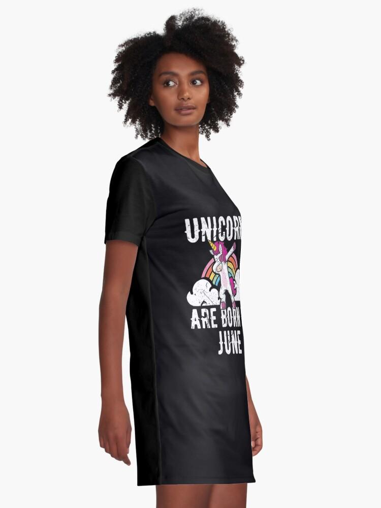 Alternative Ansicht von Unicorns Are Born In June Shirt Birthday Month Gift Tee T-Shirt Kleid