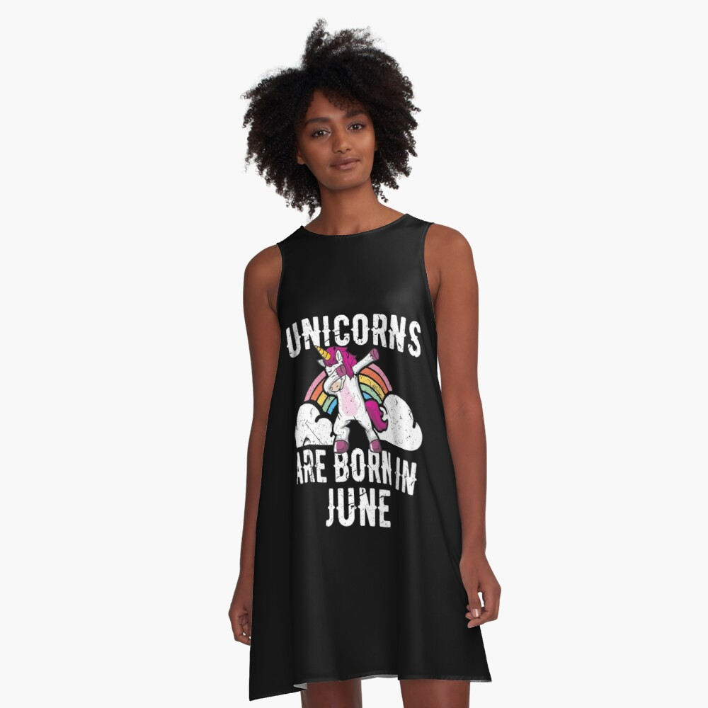 Unicorns Are Born In June Shirt Birthday Month Gift Tee A-Linien Kleid