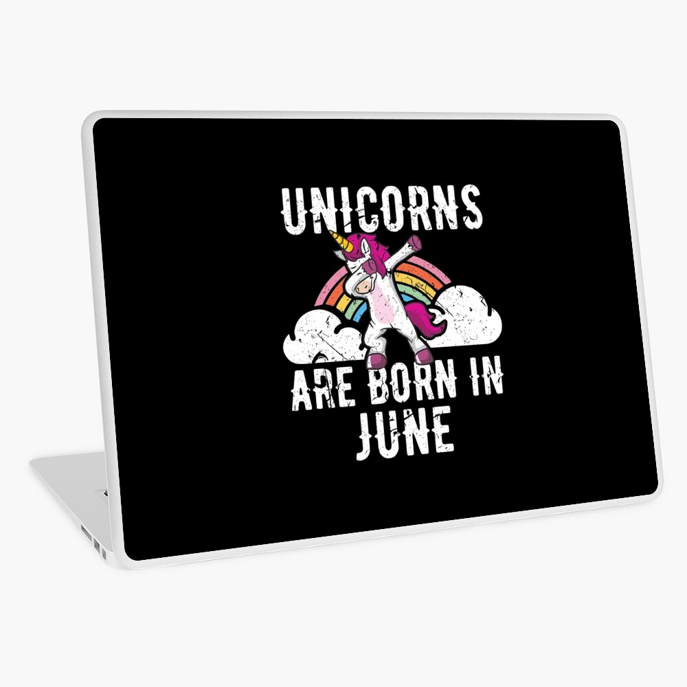 Unicorns Are Born In June Shirt Birthday Month Gift Tee Laptop Folie