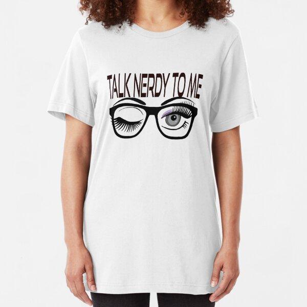 Talk Nerdy To Me Geek Glasses Winking Eye Purple Shadow Slim Fit T-Shirt