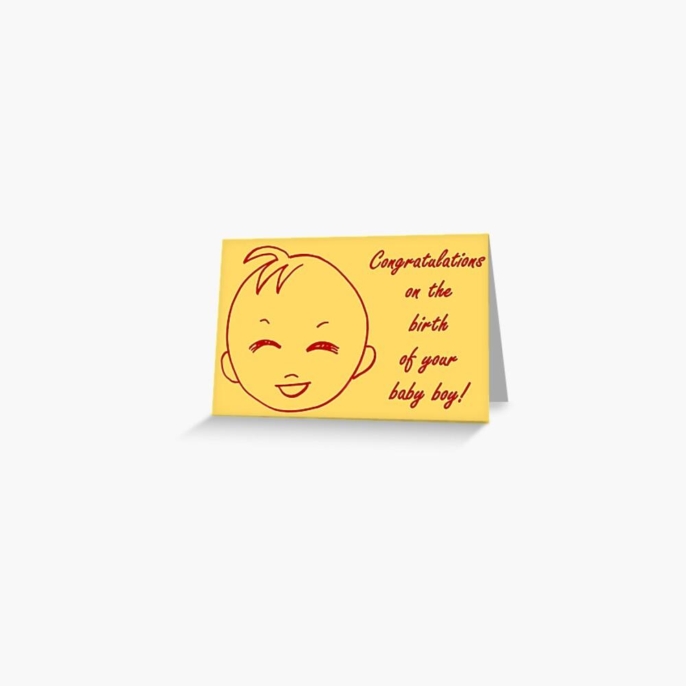 Baby Boy Congratulations Card  Greeting Card