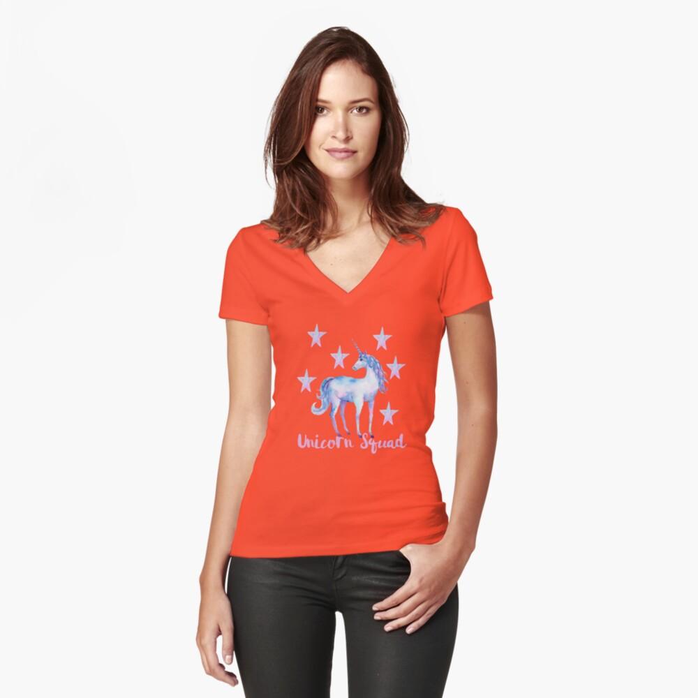 Einhorn-Truppe Tailliertes T-Shirt mit V-Ausschnitt