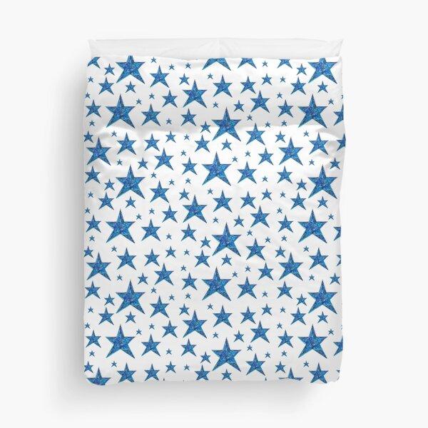 Blue and White Stars Pattern Duvet Cover