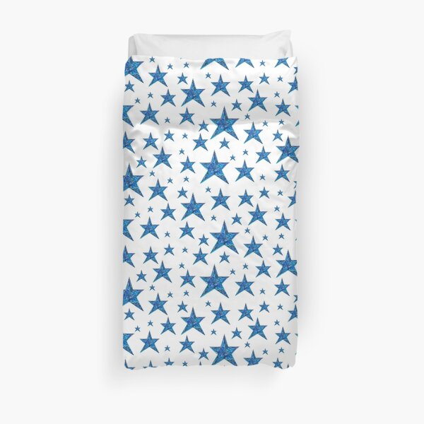 Blue and White Stars Pattern Duvet Cover