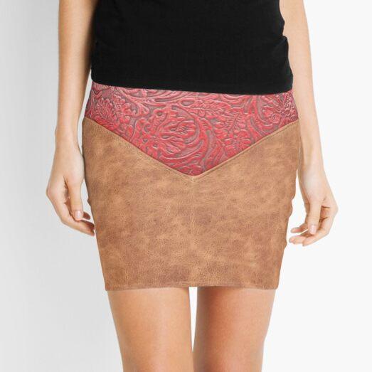 115, Western Style, Leatherette Brown, Embossed Envelope Flap Mini Skirt