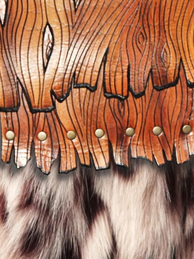 Western Style, Faux Leopard Fur, Leatherette Fringe by Yapsalot