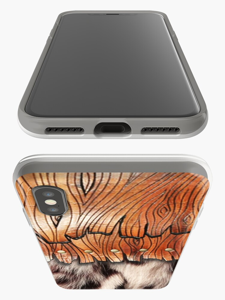 Alternate view of Western Style, Faux Leopard Fur, Leatherette Fringe iPhone Case & Cover