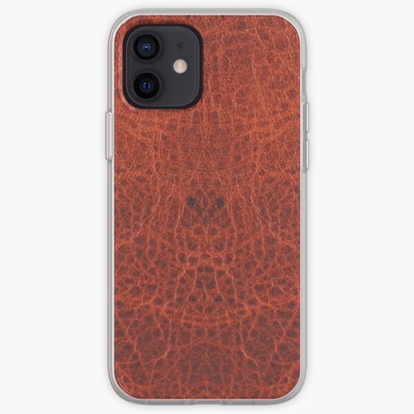 Faux Leather, Deep Reddish Brown Hue iPhone Soft Case