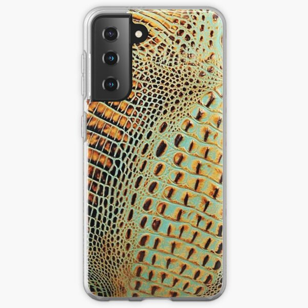 202, Faux Alligator Leatherette, Brown, Turquoise Samsung Galaxy Soft Case
