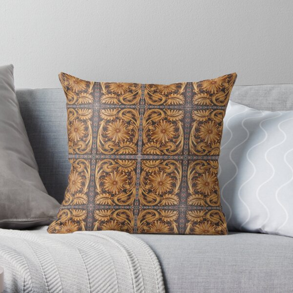 204, Faux Tooled Brown Leather, Prairie Flower Pattern Throw Pillow