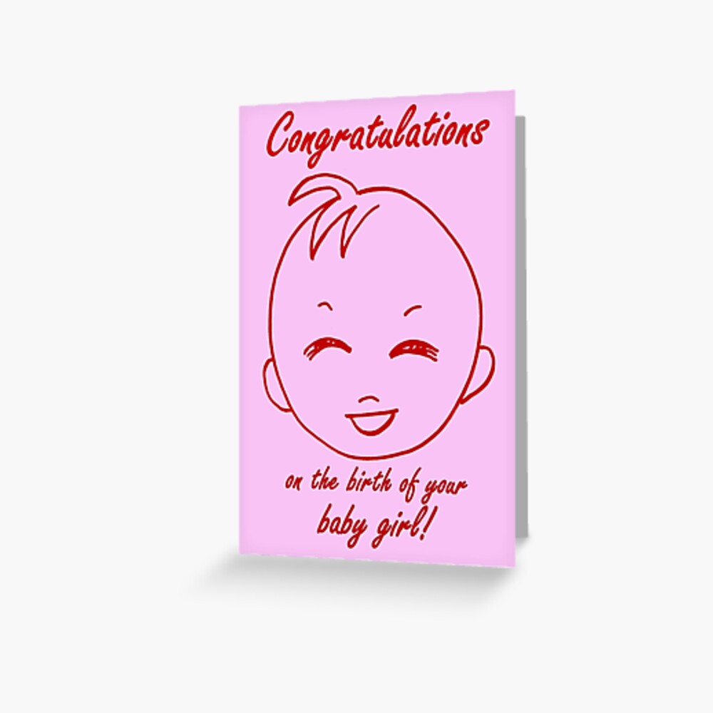 Baby Girl Congratulations Card Greeting Card