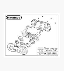 Exploded SNES Controller Schematic Photographic Print