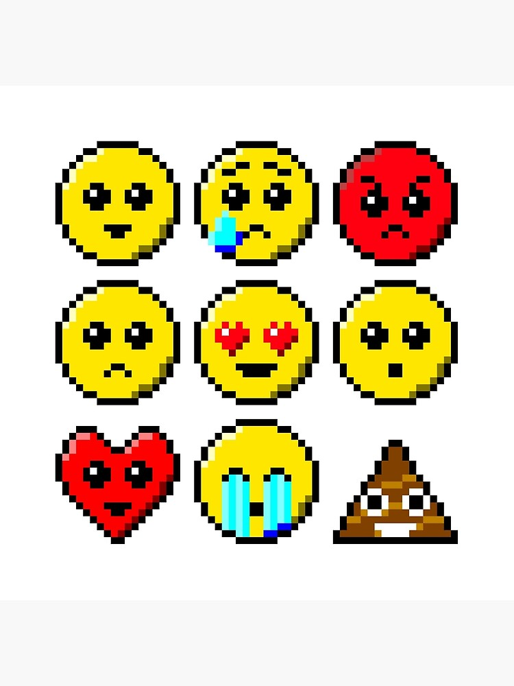 Pixel Art Faces Smile Tear Angry Sad Heart Eyes Wow Heart Face Bawling Poo Art Board Print