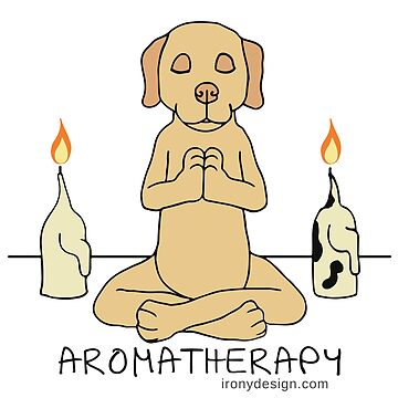 Dog Aromatherapy Meditation Funny Cartoon by ironydesigns