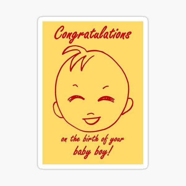 Baby Boy Congratulations Card  Sticker