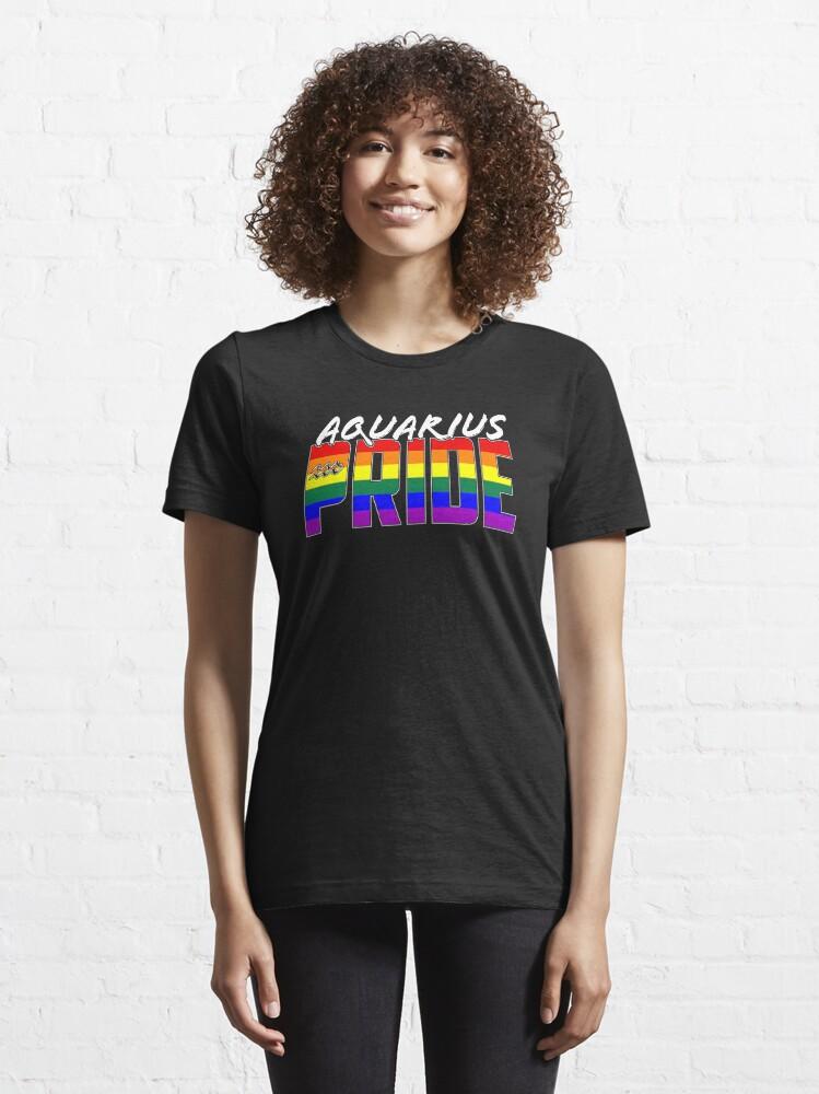 Alternate view of LGBT Aquarius Pride Flag Zodiac Sign Essential T-Shirt