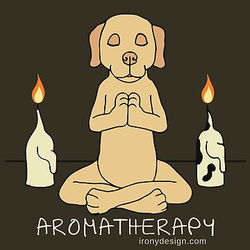 Dog Aromatherapy Meditation Funny Cartoon Dark by ironydesigns