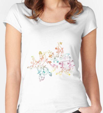 Blumenmusiknoten 2 Tailliertes Rundhals-Shirt