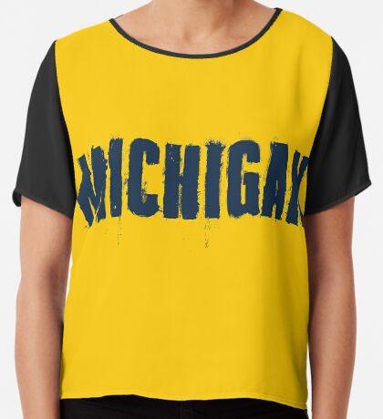 Michigan Trash Letters Chiffon Top