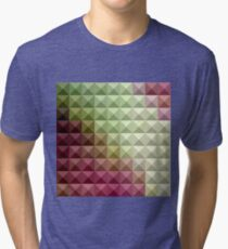Deep Mauve Purple And Green Abstract Low Polygon Background Tri-blend T-Shirt