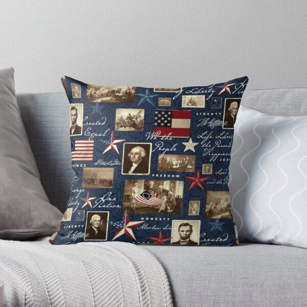 Amérique patriotique symbolique historique collage Coussin