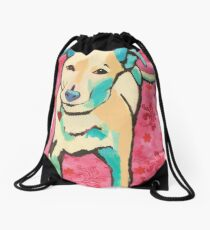 Zoe with Pink Pattern Drawstring Bag