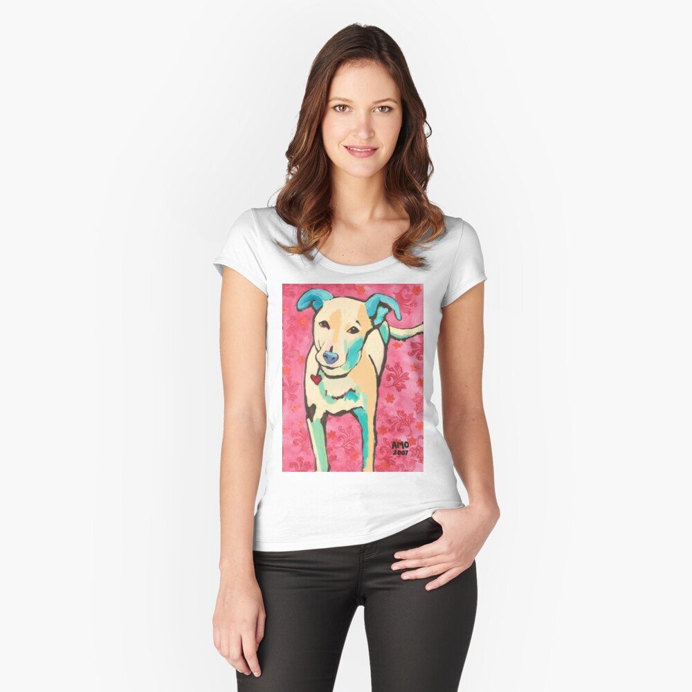 Zoe with Pink Pattern Fitted Scoop T-Shirt