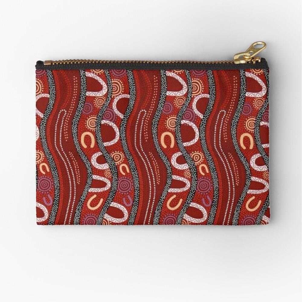 Australian, Pattern Traditional Fabric Print Zipper Pouch