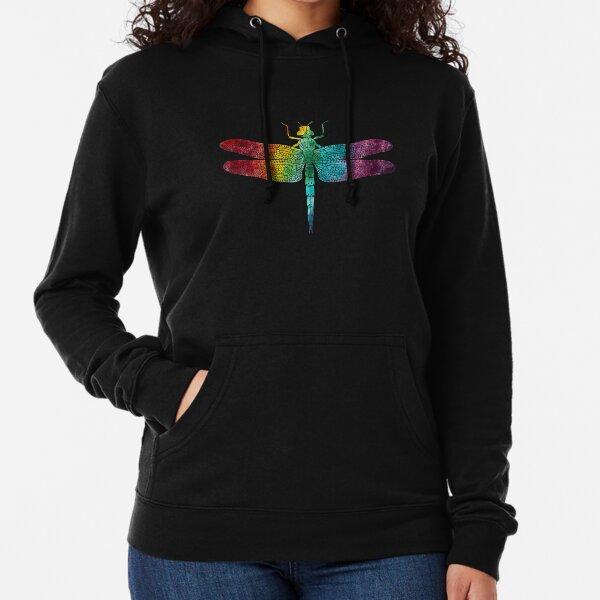 Rainbow Watercolor Dragonfly  Lightweight Hoodie