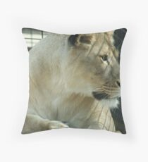 Lioness in a Cage Throw Pillow