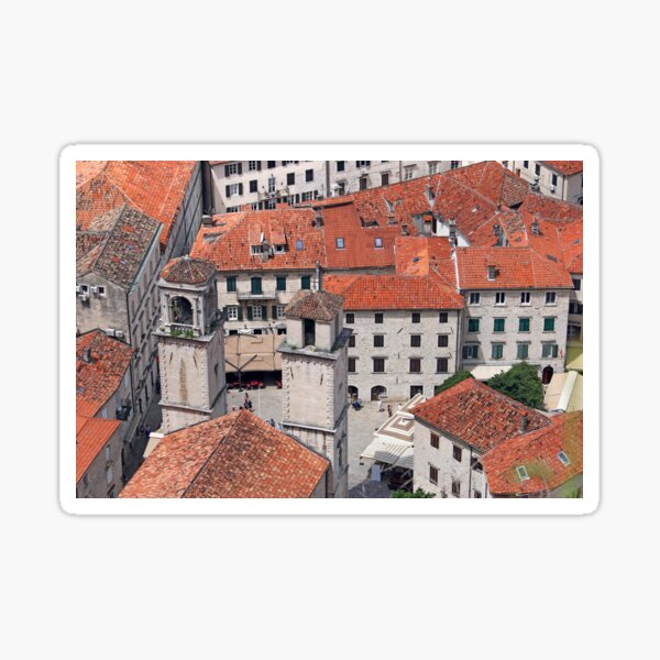 Church of Saint Tryphon towers old town Kotor Montenegro Sticker