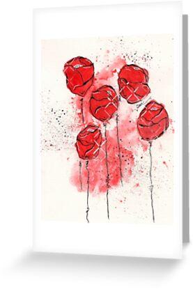Crimson and Cream Splotch Flowers by Tiare Smith