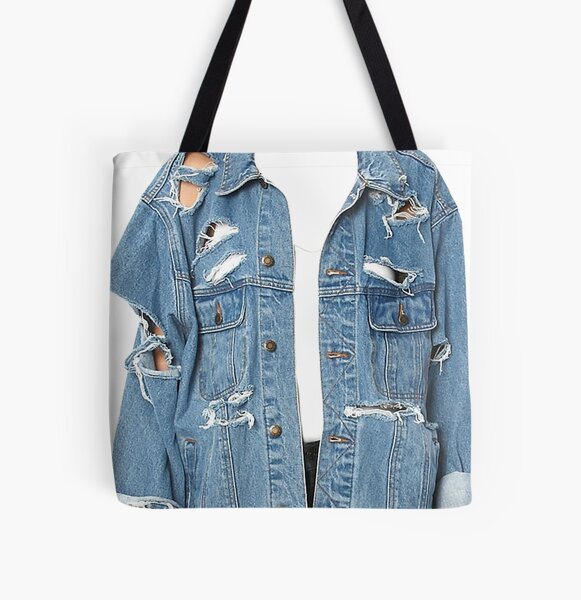 Old Blue Jean Distressed Denim, Western Style All Over Print Tote Bag