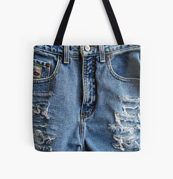 Western Style, Distressed Denim Blue Jeans All Over Print Tote Bag
