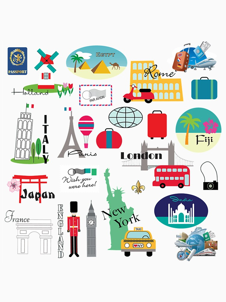 Travel, World, Destinations Collage Print by Yapsalot