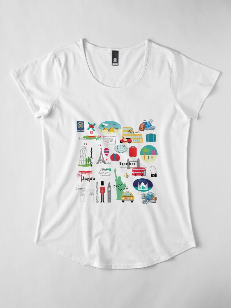 Alternate view of Travel, World, Destinations Collage Print Premium Scoop T-Shirt