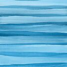 Blue Watercolor Lines Pattern by blueskywhimsy