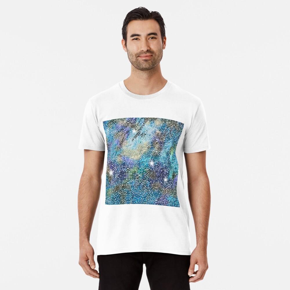 RB201, Bling Look Textiles, Fabrics, Bluish w/Stars Premium T-Shirt