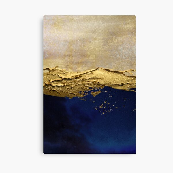 blue abstract scene with gold paint effect. Canvas Print