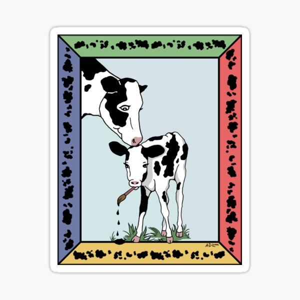 Cow Artist, Cow Art Sticker