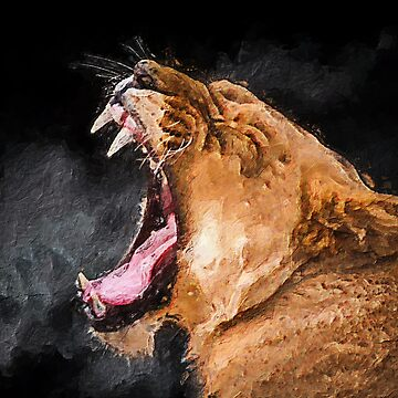 Lioness Roaring Art Portrait by ironydesigns