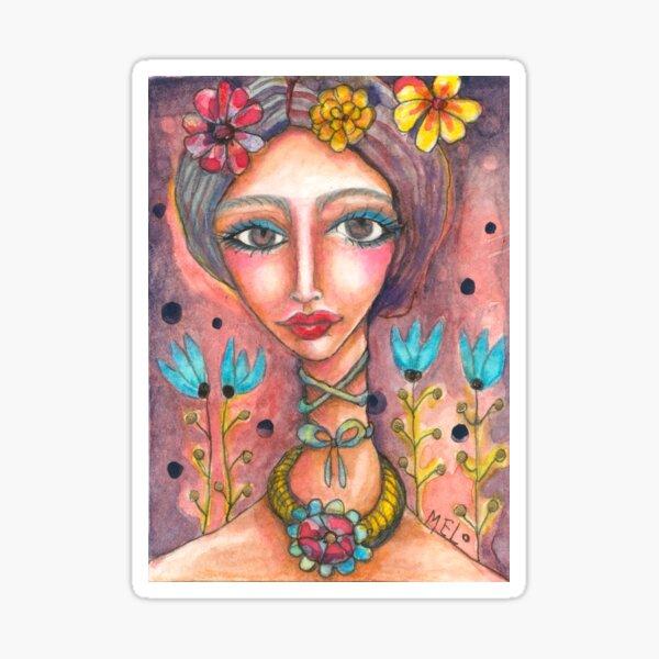 Frida Kahlo with Blue Tulips Sticker
