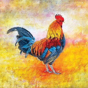 Colorful Rooster Digital Art Painting by ironydesigns