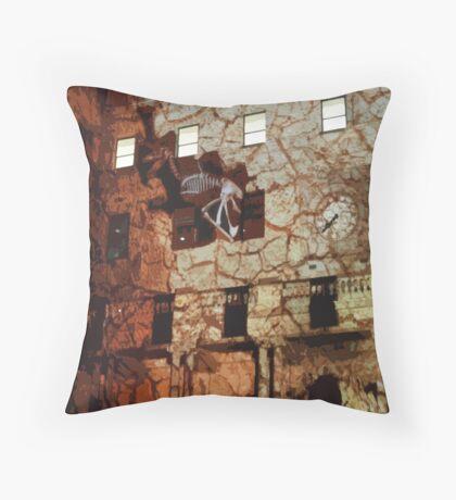 Dinosaurs in the Clocktower Throw Pillow