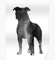 Pitbull silhouette minimalist painting Poster