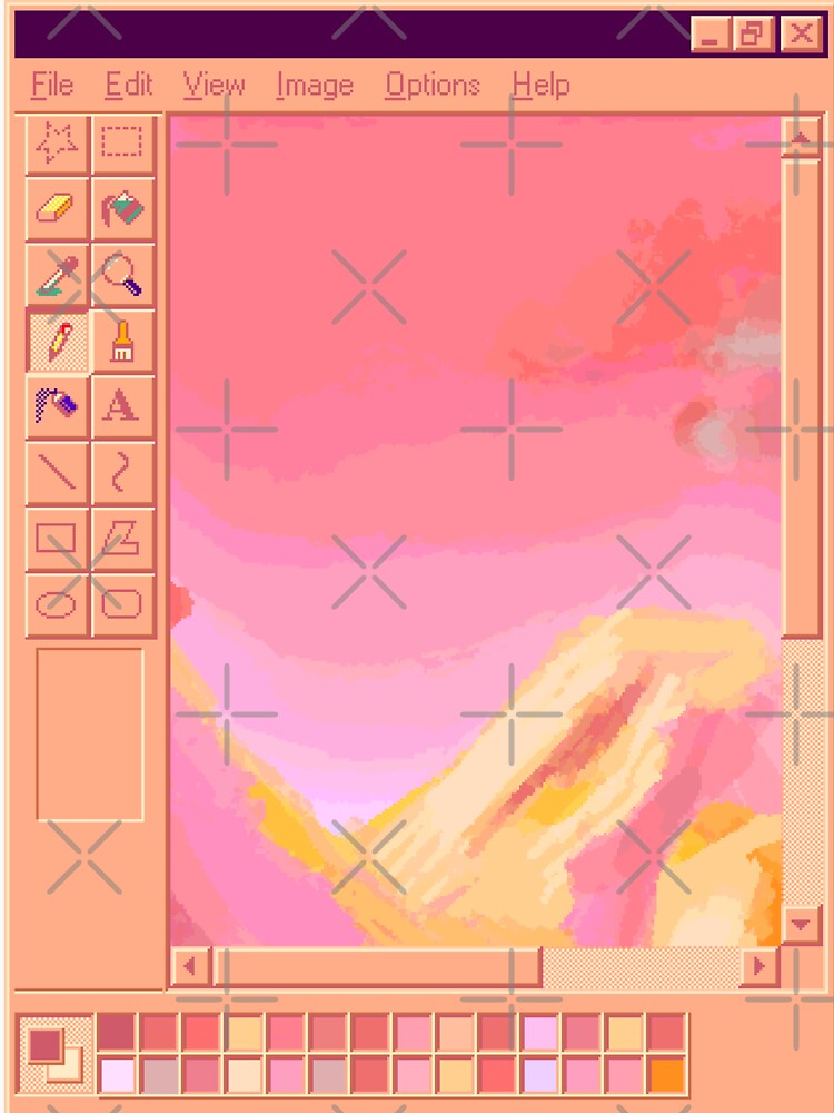 Vaporwave MS Paint Pastel Mountains by Emmytwofive